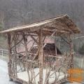 UNIKATNI hrastov vrtni paviljon z garnituro